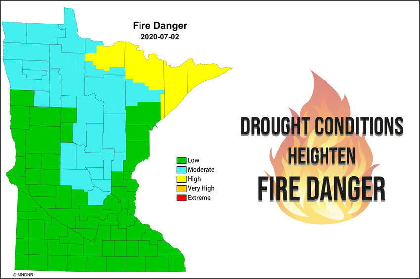 DNR Fire Conditions Map as of July 2, 2020
