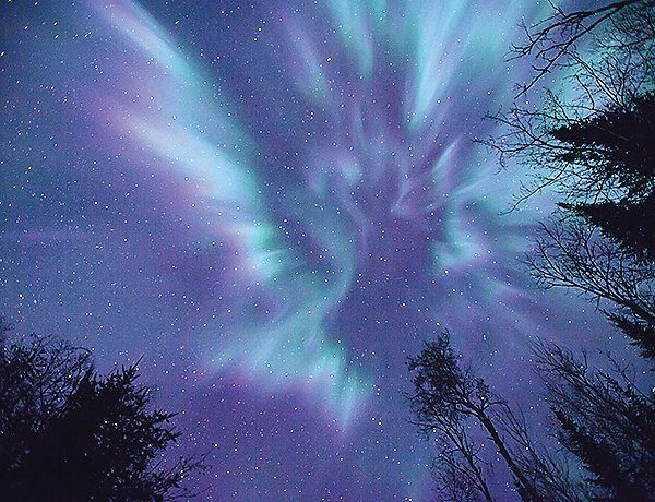 Northern lights dance above the North Country.