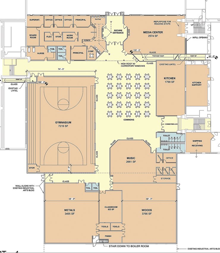 A floorplan for a portion of the $20 million Ely schools construction project.