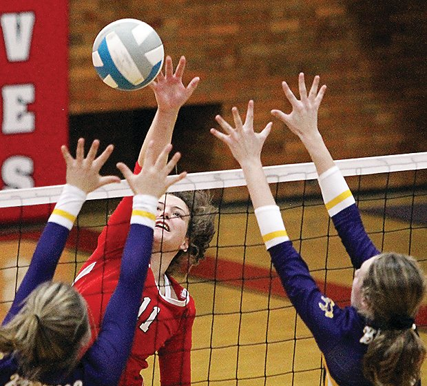 Ely's Rachel Coughlin goes up high for a kill on Tuesday as the Wolves downed the Broncos in straight sets.