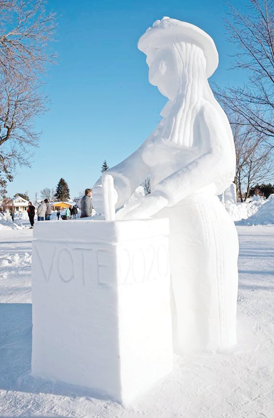A suffragette snow sculpture at last year's festival reminded women of their hard-won right to vote and the importance of their vote in the 2020 election.