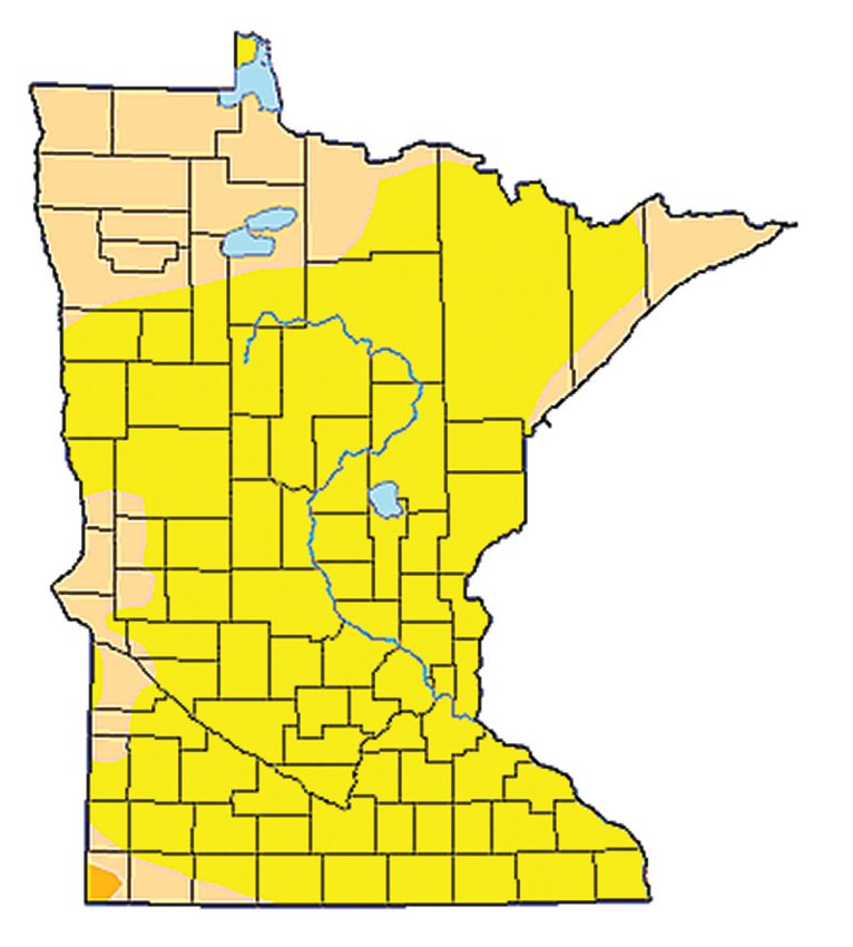A current Minnesota drought map. Yellow   signifies abnormally dry, while the orange   indicates moderate drought.
