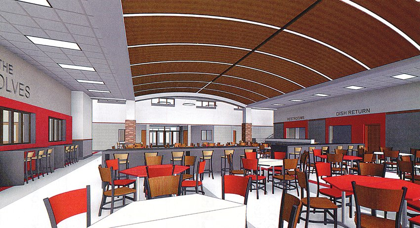 In this architect's view looking north toward the school's secured entrance, the commons/  cafeteria area in the new Ely school addition will feature a barrel-vaulted ceiling with plenty of natural light. The new gymnasium is on the left, and the new kitchen are is on the right.