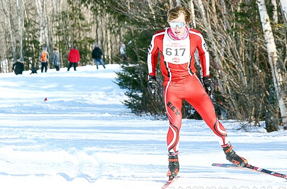 Ely skier Jasper Johnston competes last Friday during the state Nordic ski meet at Giants Ridge. He finished in fifth place overall as an individual