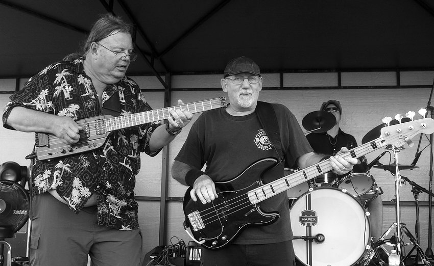 Earl Bulinski, center, played with the Tru Blu North Trio, including Jef Cerniak, left, and Andy Messerschmidt, on drums,  at various Ely venues, including the Boundary Waters Blues Festival in Winton. Bulinski died last weekend at age 72.