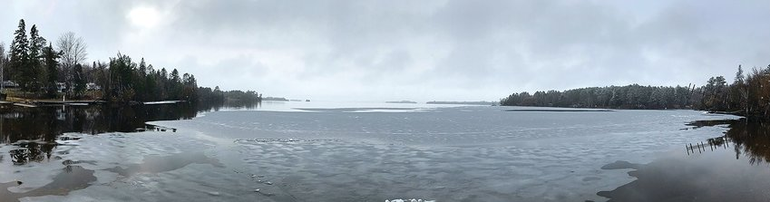 Ice was lingering at McKinley Park on Lake Vermilion late Tuesday and more ice was visible further out on Big Bay.