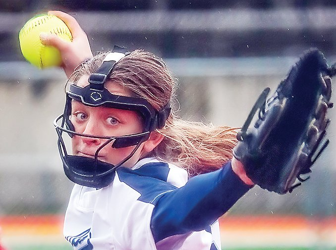 North Woods pitcher Evelyn Brodeen shows intense focus as she hurls a pitch against MI-B.