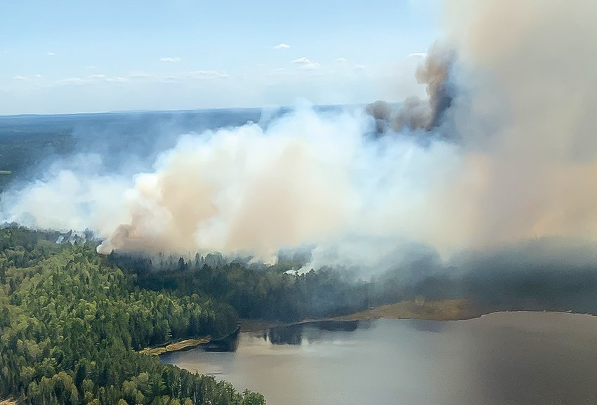 Smoke was visible Monday from the Bezhik Fire, located east of Trout Lake in the BWCAW.
