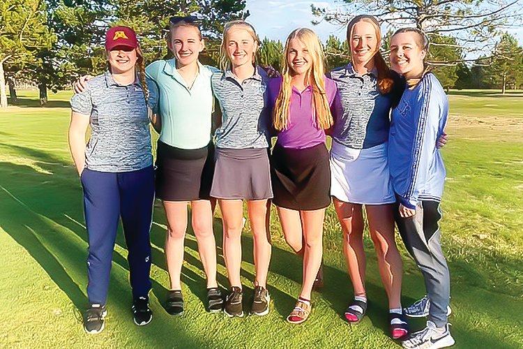 North Woods girls golfers (l-r) Abbigail Shuster, Haley Bogdan, Lauren Burnett, Tori Olson, Morgan Burnett, Madison Dantes.