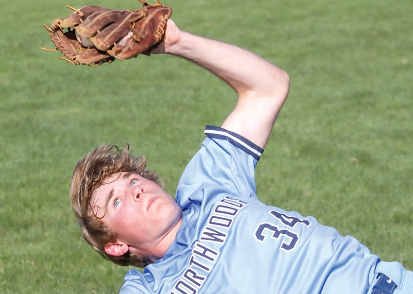 The Grizzlies' Ben Kruse prepares for a rough landing after leaping to grab a foul ball against Carlton.