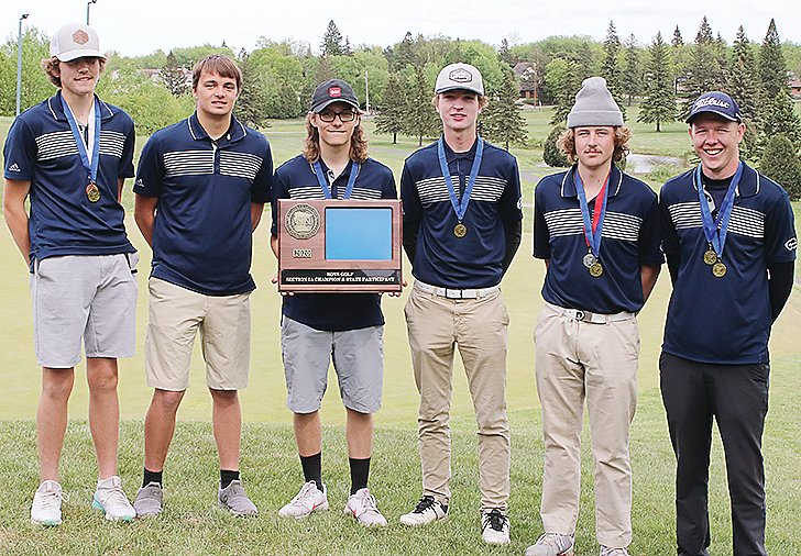 Members of the North Woods boys golf team with their first place trophy from the Section 7A tournament. Pictured are Davis Kleppe,Ty Fabish, Brandt Boutto, Eli Smith, Sam Frazee, and Ian Olson.