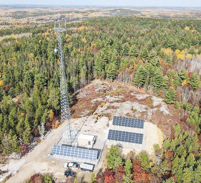 An aerial view of the new FirstNet solar-powered cell tower along the Echo Trail northwest of Ely. The tower provides dedicated and enhanced communication for emergency responders and also access to the AT&T commercial network.