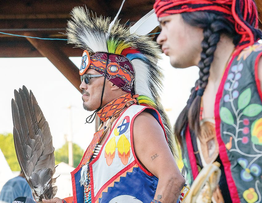 Dancing to the beat of the singers during the Sah Gii Bah Gah powwow held earlier this month at Nett Lake.