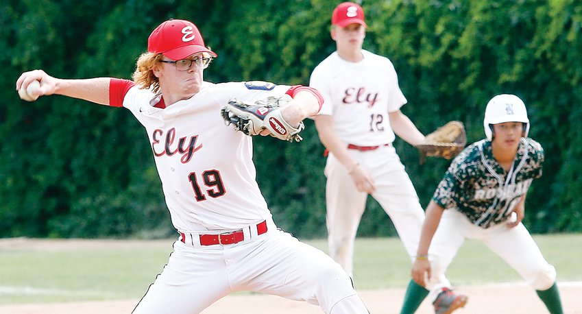 Ely pitcher Dalton Schreffler winds to deliver during last weekend's contest against Roseau. It was all part of the annual Sir Gs Classic baseball tournament held in Ely.