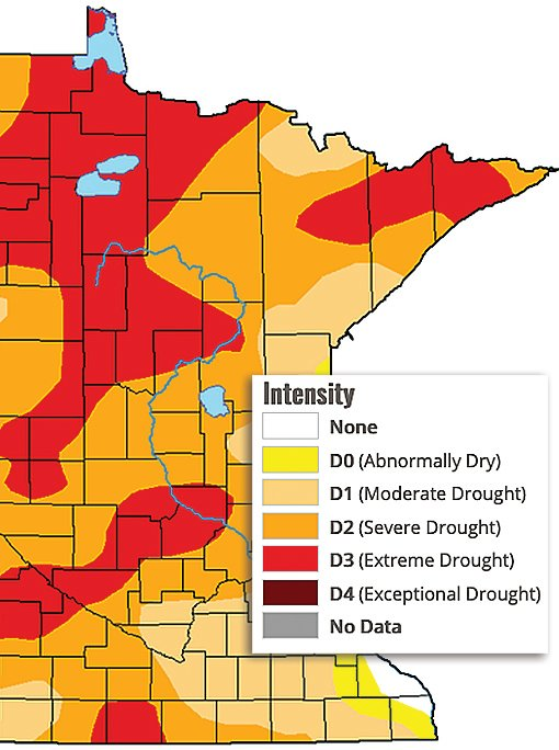 The latest U.S. Drought Monitor map showing portions of northern St. Louis and Lake counties (deep red) now in extreme drought.