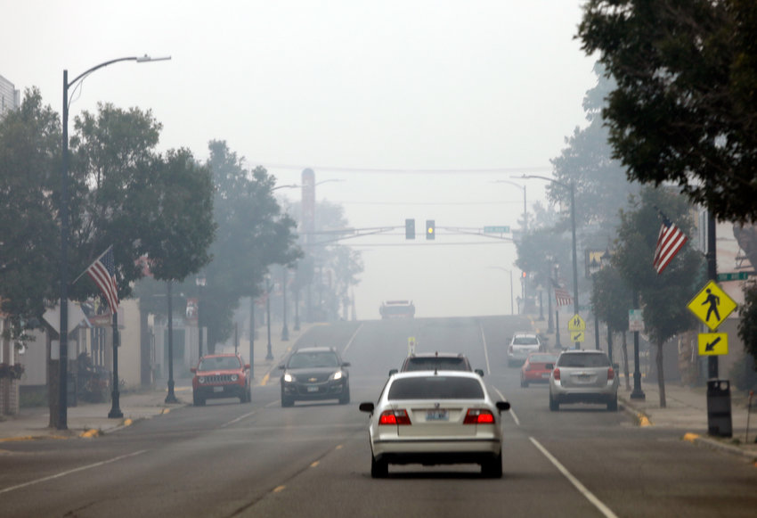 A dense blanket of smoke choked skies in Ely on Thursday morning.