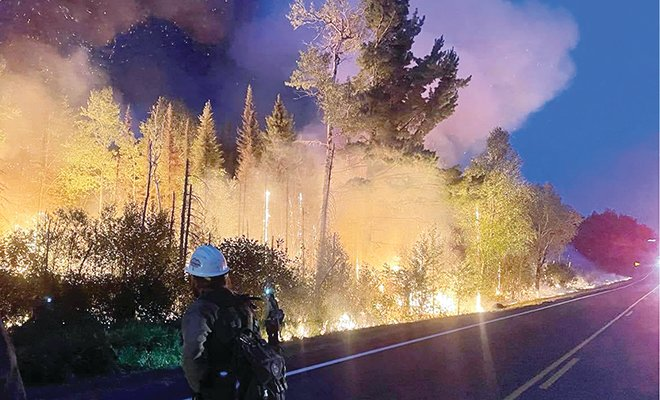 Firefighters at the Greenwood Fire worked on defensive burn operations this week.