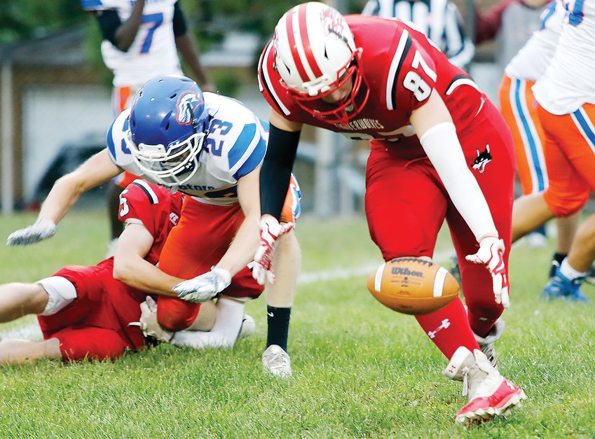 Ely's Chase Sandberg recovers a Carlton   fumble during   football   action in   Ely last   Friday.