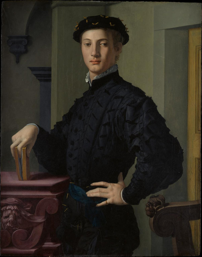 Bronzino (Agnolo di Cosimo di Mariano) (Italian, Monticelli 1503–1572 Florence). Portrait of a Young Man, 1530s. Oil on wood, 37 5/8 x 29 1/2 in. (95.6 x 74.9 cm). H. O. Havemeyer Collection, Bequest of Mrs. H. O. Havemeyer, 1929 (29.100.16)