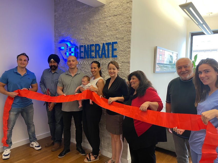 Regenerate SoftWave Therapy hosted a festive Open House in Hoboken on Tuesday, June 22. On hand to celebrate were, from left to right: Co-founder Dr. Marco Ferrucci, Hoboken Mayor RaviS.Bhalla, Co-Founder Dr. Tim Lyons, Lorenzo Lyons, Lisa Lyons, Hoboken Council Member Tiffanie Fisher, Doreen Dalli, Joe Montelone, and Erin Robinson.