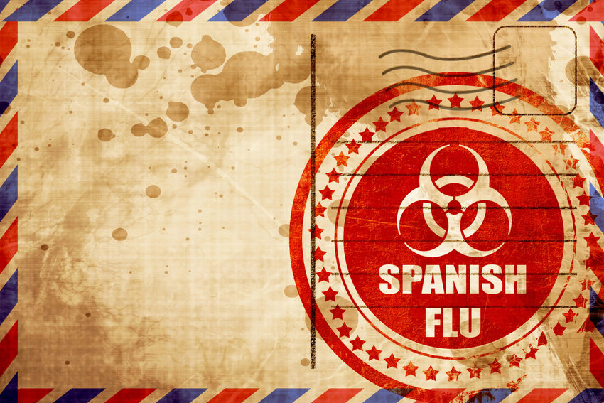 Spanish flu concept background with some soft smooth lines