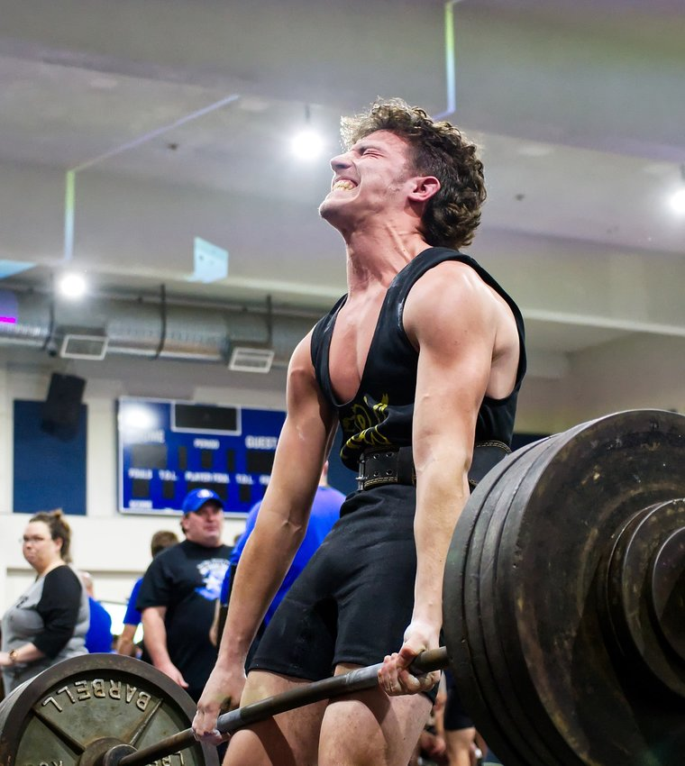 Quitman powerlifter River Chaney attempts a deadlift of almost 400 pounds, barely missing a clean lift. He led the boys 148 weight class after the squat, where he lifted 460 pounds, and bench press competitions. He bombed out of the deadlift.