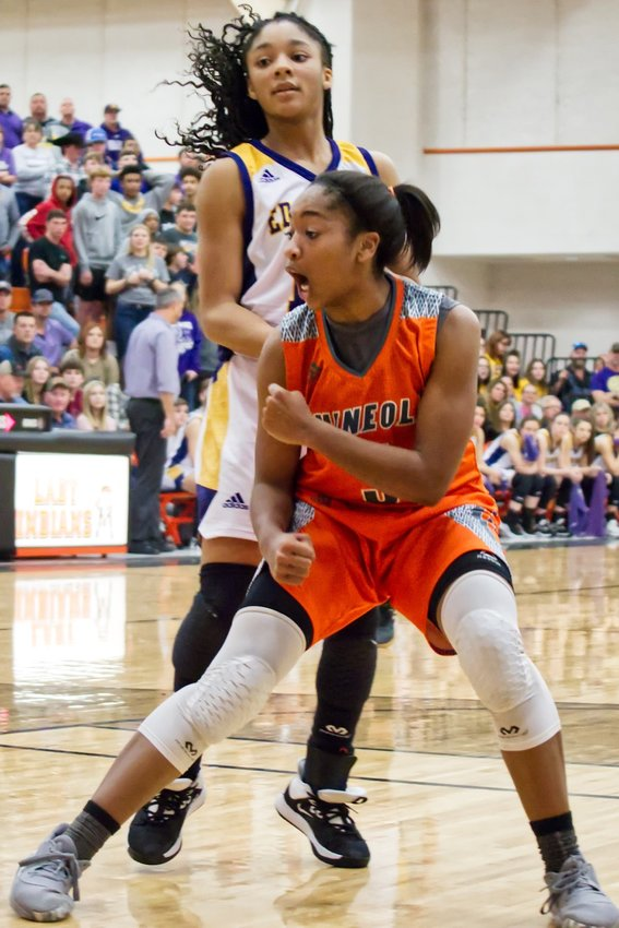 Sabria Dean celebrates a steal and assist during a Mineola run in the second half.