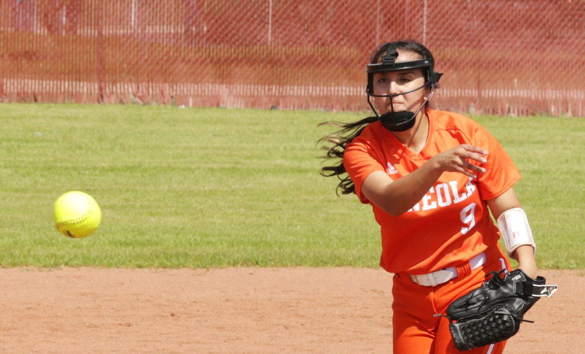Lady Jacket Claudia Barriga (pictured) shared pitching duties with Izzy Tresca in Mineola's 22-10 win against Lone Oak. (Monitor photo by John Arbter)