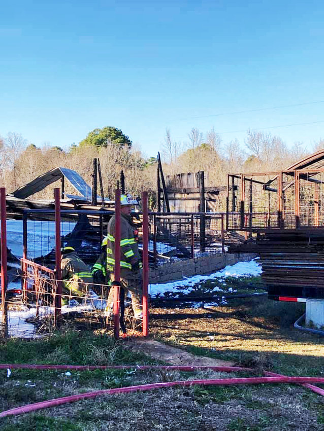 Fire decimated the Alba-Golden High School ag barn during the Christmas break, killing three show goats and leaving students scrambling for places to house animals.