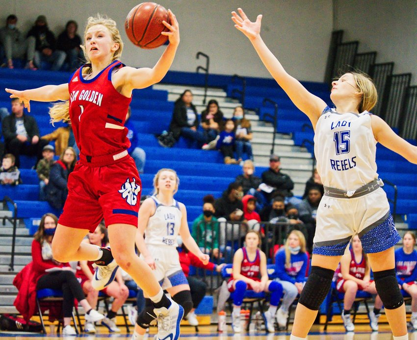 Bella Crawford steals a Rivercrest pass for the Alba-Golden Lady Panthers in their bidistrict victory last Thursday.