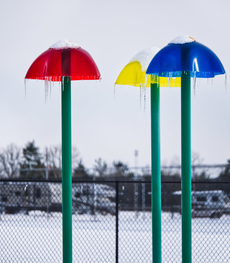 Icicles cover the splash park at Mineola Civic Center.