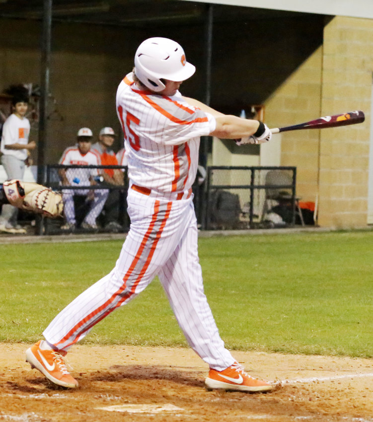 Conner Gibson launches an RBI-double to deep center field in Mineola's big second-inning rally against Chapel Hill. (Monitor photo by John Arbter)