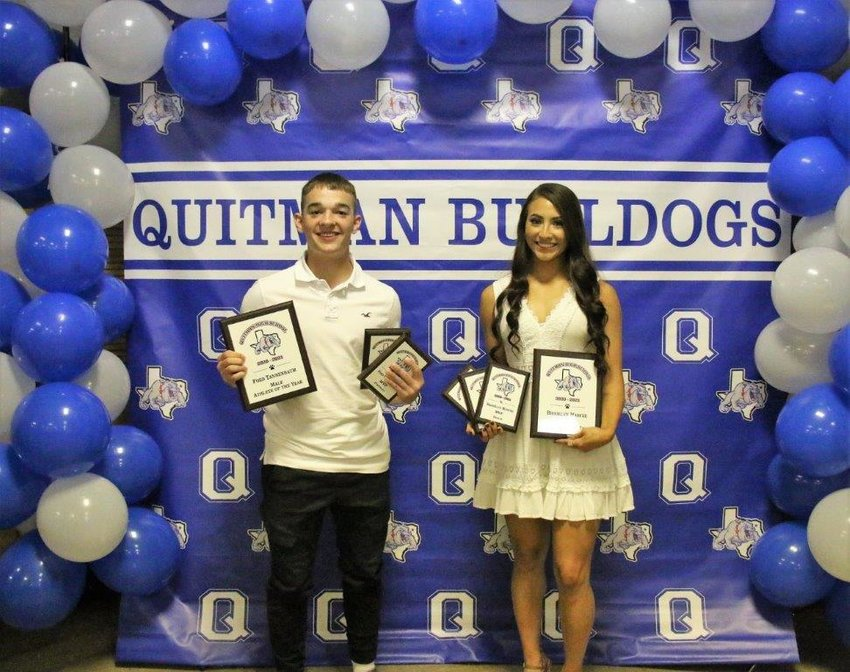 """Quitman High School juniors Ford Tannebaum and Brooklyn Marcee were named the male and female """"Athletes of the Year"""" at last week's sports banquet held at Carroll Green Center."""