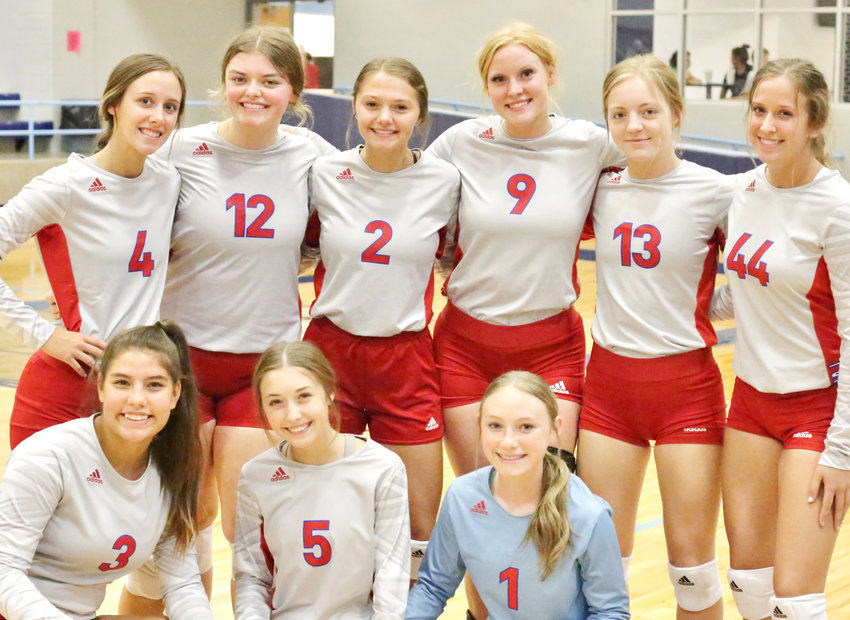 The Alba-Golden Lady Panthers varsity volleyball team. Standing from the left are Sara Hodges, Alexis Wilmut, Kalli Trimble, Kaylee Anglin, Cacie Lennon, and Skyler West. Kneeling are Erin Langston, Kamrin Wright and Alyssa Murdock.