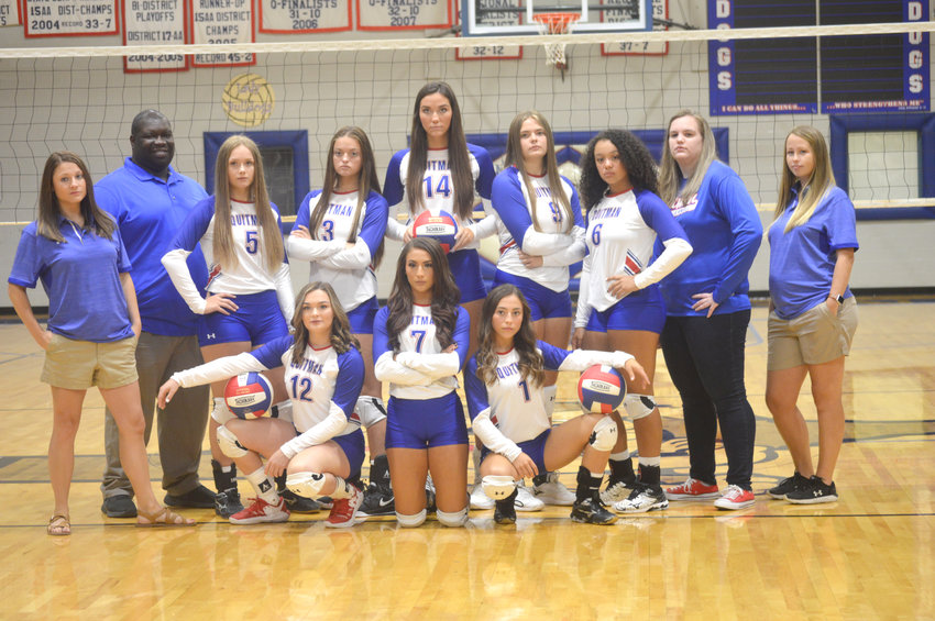 Quitman varsity volleyball roster 1-Addison Marcee, 3-Maddy Pence, 5-Carley Spears, 6-Ashley Davis, 7-Brooklyn Marcee, 9-Kaysi Parker, 14-Ava Burroughs, 12/22-Alexis O'Neal.