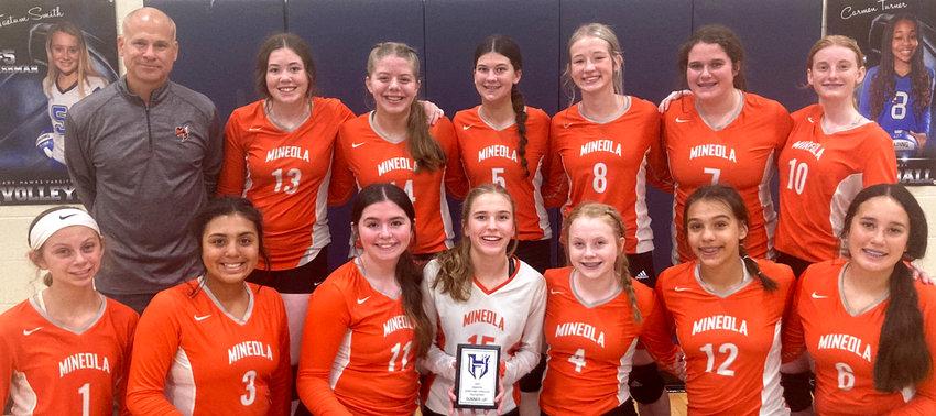 The Mineola 8th grade volleyball team includes, back from left, Coach VanDover, 13-Jadelyn Marshall, 14-Lucy Goodson, 5-Layla Kelley, 8-Clara Marlow, 7-KenziBanks, 10-Tori Kinder; and, front, 1-Caroline Castleberry, 3-Maddie Short, 11-Maiyah Gonzalez, 15-Raylie Peebles, 4-Addyson Blackwell, 12-Jaylee Nevarez and 8-Makena Quiambao.