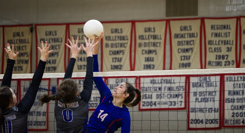 Ava Burroughs and the Quitman Lady Bulldogs hope to hang another volleyball banner in the gym. Burroughs had nine kills in a three-game loss to Mt. Vernon Friday.