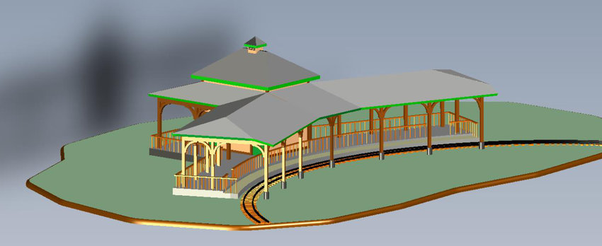 This rendering shows plans for a shaded loading and parking area and restrooms for the mini-train at Iron Horse Square Park in Mineola as proposed by the landmark commission.