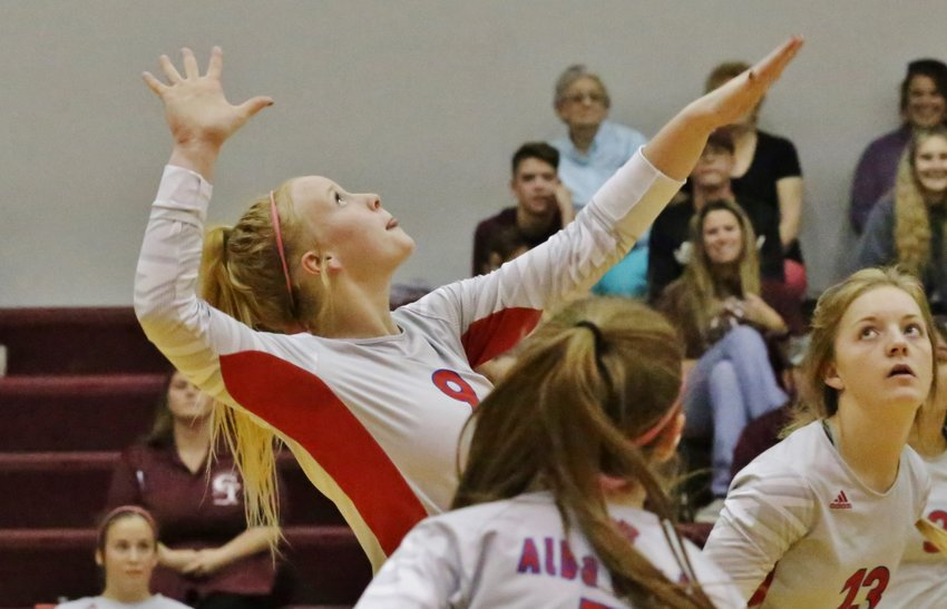 Alba-Golden's Kaylee Anglin prepares to unleash on a set in early action against Cumby.