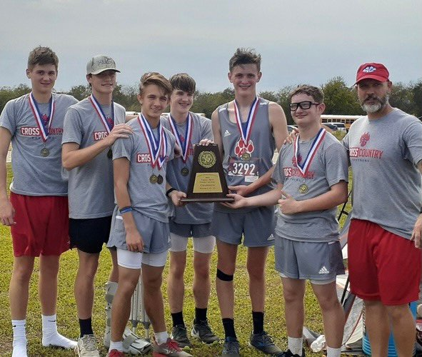 The Alba-Golden boys cross country team has won the district championship and will advance to the regional meet on Oct. 25.